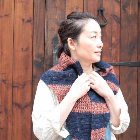 ★☆★Free★☆★あまり糸で編むランダムボーダーショール【ダウンロード・レシピ】