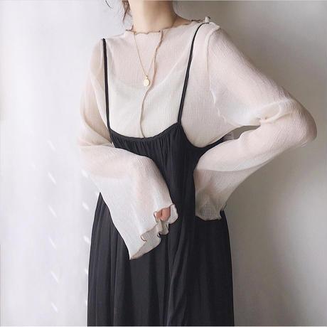 piping sheer blouse