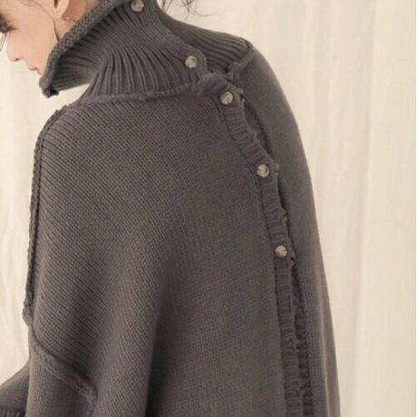 3way  damage turtle neck knit