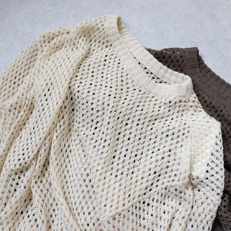 cotton touch fishnet pullover
