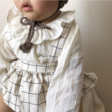 striped frill collar blouse