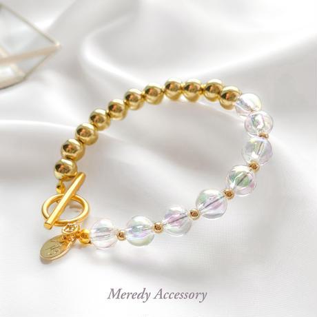 オーロラ×GOLD  asymmetry bracelet