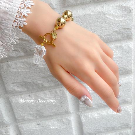 おおぶりクリア×GOLD  asymmetry bracelet