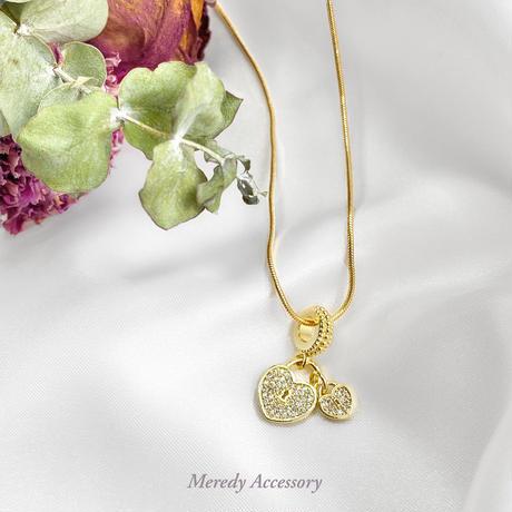 《ジルコニア使用》heart key ネックレス