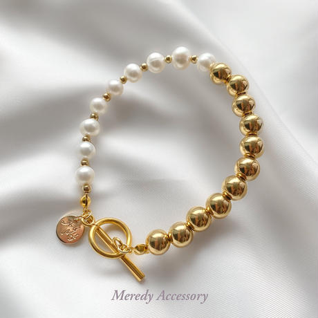 淡水パール×GOLD  asymmetry bracelet