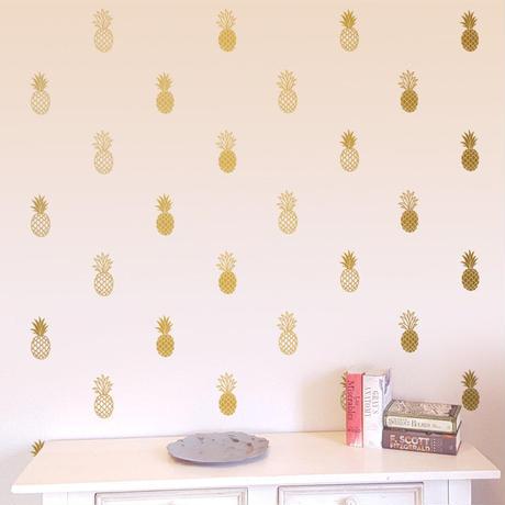 【DIYアイテム】パイナップル柄 ウォールステッカー 壁紙シール