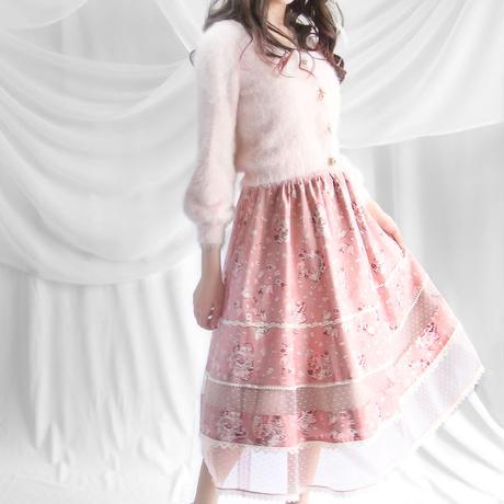 アリスのトランプダンス ハートチュール切替スカート -ピーチフラミンゴ-