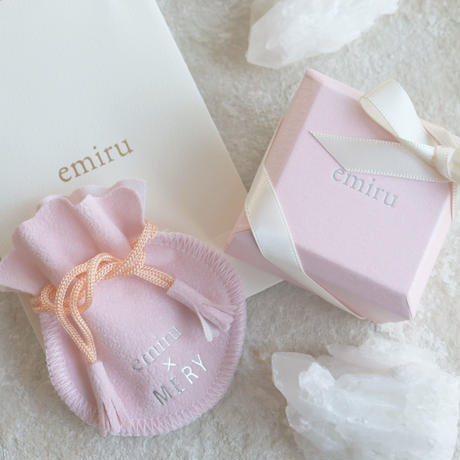 【emiru】Frill Middle gem  ring (Silver&Aquamarine)/(Gold&Rose Quartz )