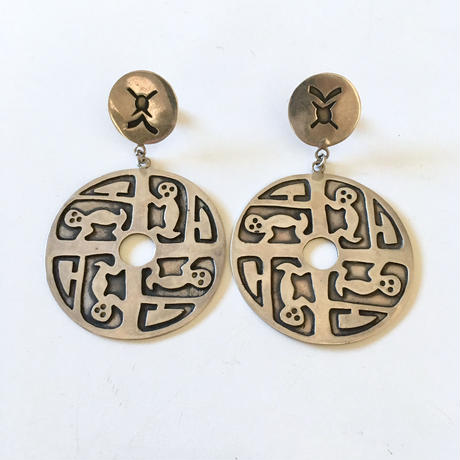 Vintage sterling silver funny design pierced earrings