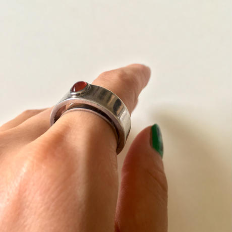 vintage modernist silver × red agate ring