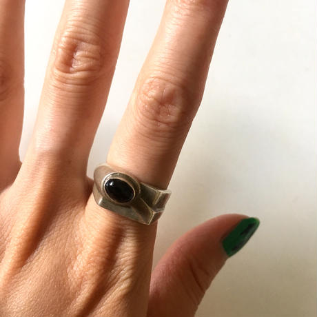vintage modernist silver × onyx ring