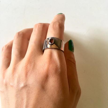 vintage silve  gold × garnet ring