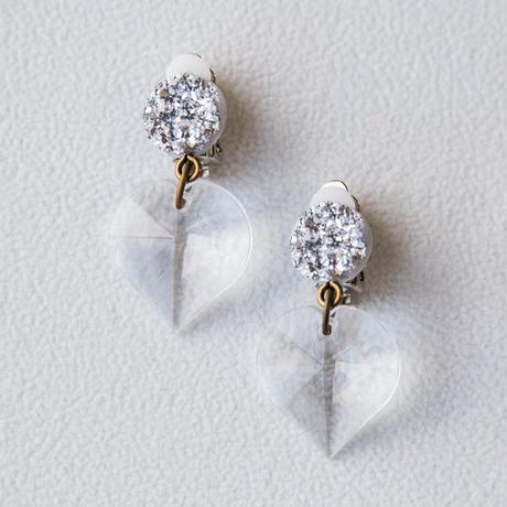 pierce & earring crystal heart