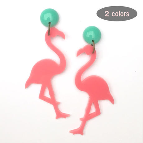 "pierce & earring  ""flamingo"""