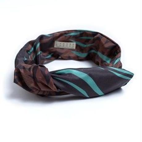 YARN&COPPER     Silk headband  'Sea bed'  green ヘッドスカーフ