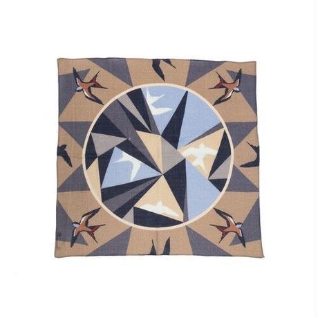 YARN&COPPER Merino Wool 'Kaleidoscope' beige  リング付きミニスカーフ