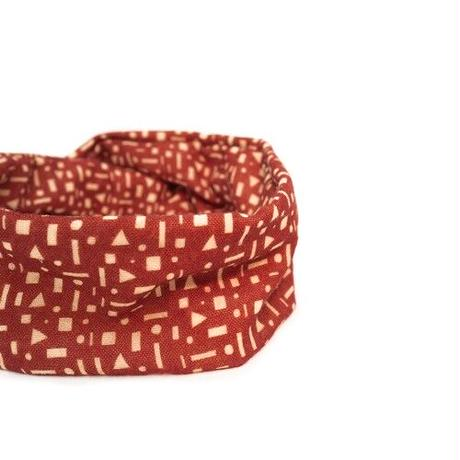 YARN&COPPER   Merino Wool 'Alkham' Red ヘッドスカーフ/ミニスカーフ