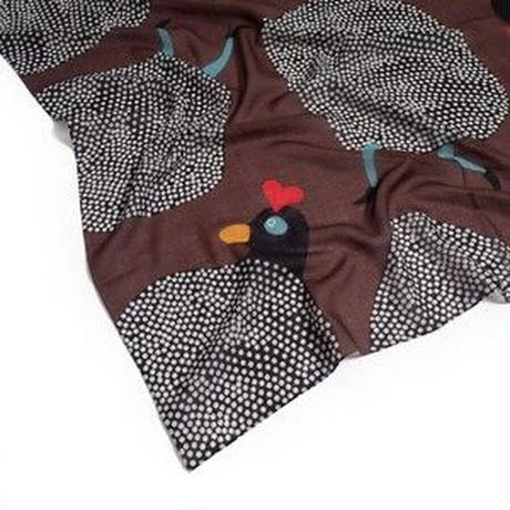 YARN&COPPER Merino Wool 'Running Hens' coffee Brown  リング付きミニスカーフ