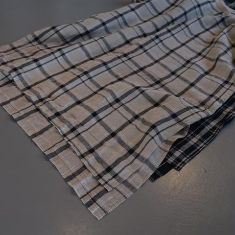 HARVESTY    リネン チェック柄 半袖ロングスモック    A42102