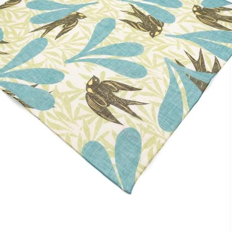 YARN&COPPER 近江リネン  'Swift Swallows' green リング付きミニスカーフ