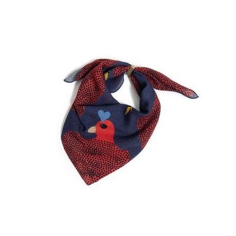 YARN&COPPER Merino Wool 'Running Hens' navy リング付きミニスカーフ