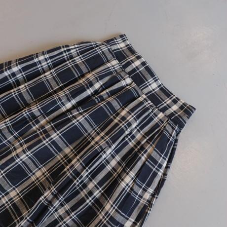 HARVESTY リネン チェック柄 ロングスカート  A22102