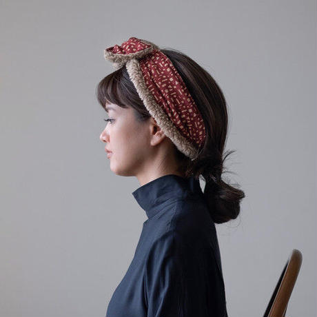 YARN&COPPER Merino Wool 'Alkham' Black リバーシブルヘッドスカーフ/ミニスカーフ