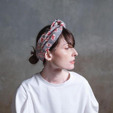 YARN&COPPER Silk headband 'Victorian Paisley' stone grey ヘッドスカーフ