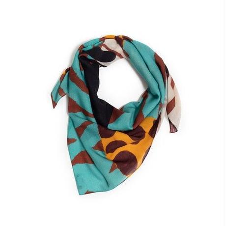 Merino Wool 'Viva La Cuba' turquoise 正方形スカーフ