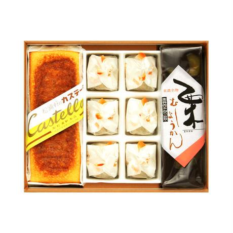 実りの秋の贈り物 霧ヶ城(きりがじょう)秋物語セット カステーラ・栗きんとん・栗蒸ようかん箱詰め合わせ