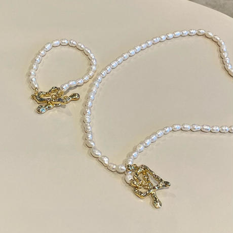 (404)heart mantel fresh water pearl necklace【淡水パール】