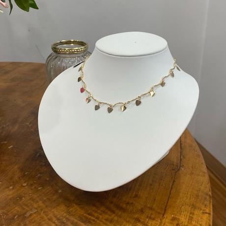 (395)waving gold heart choker necklace