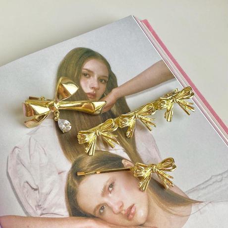 (392) ribbon gold clip set