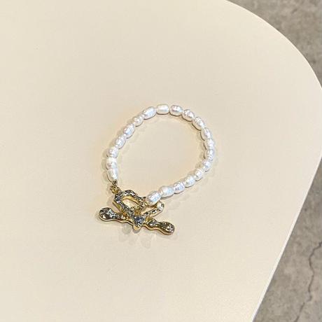 (405)heart mantel fresh water pearl bracelet 【淡水パール】