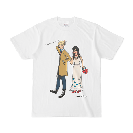 """Tシャツ 半袖 白 「from now on ○○""""♥""""」  レディース"""