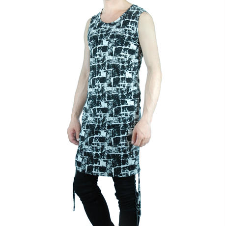 Printed Shirring Tank Top