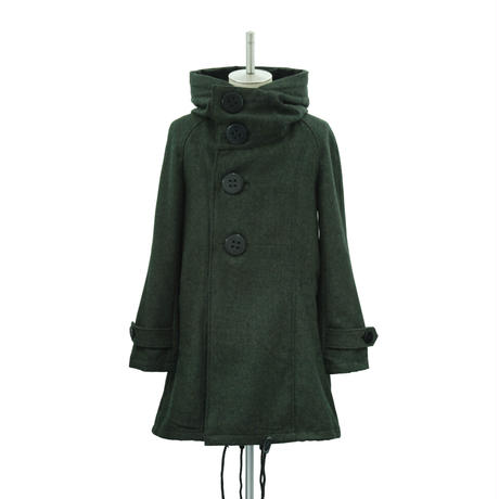 Big Button Hooded Coat/Green