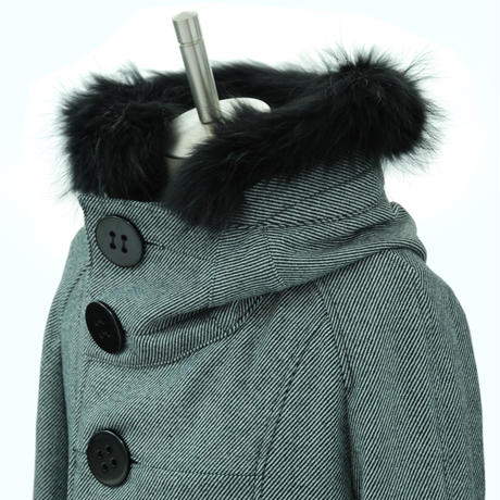 Big Button Hooded Coat/White