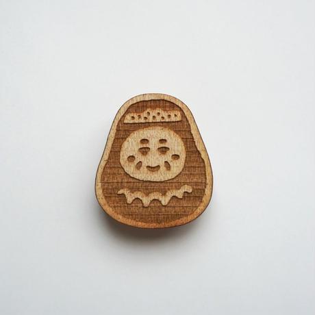 木製ブローチ【三原だるま】