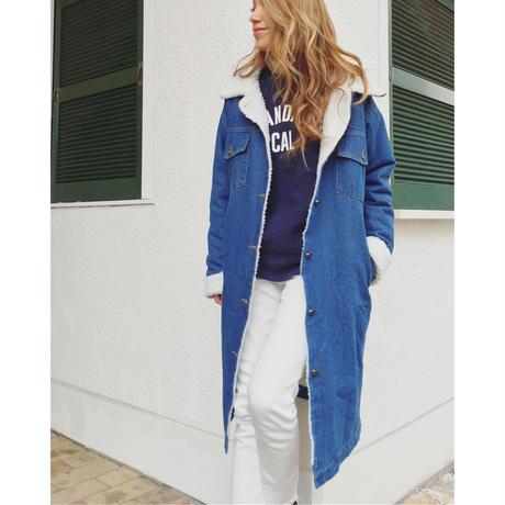 ボアデニムロングコート(D.BLUE)