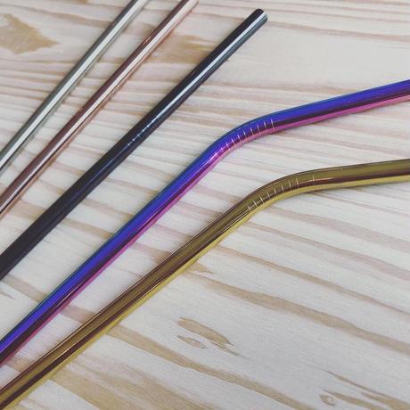 ステンレス製ストローストレートタイプ(洗浄用ブラシ付き)