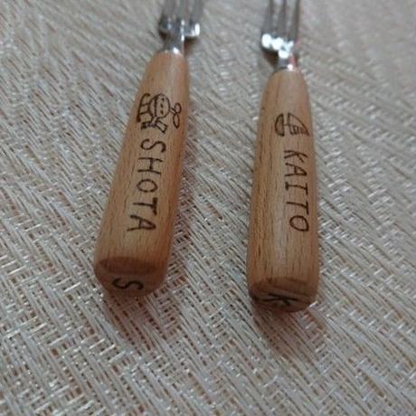 お名前入りオンリーワン・スプーン&フォークセット♡ステンレス木柄・絵柄17種類より