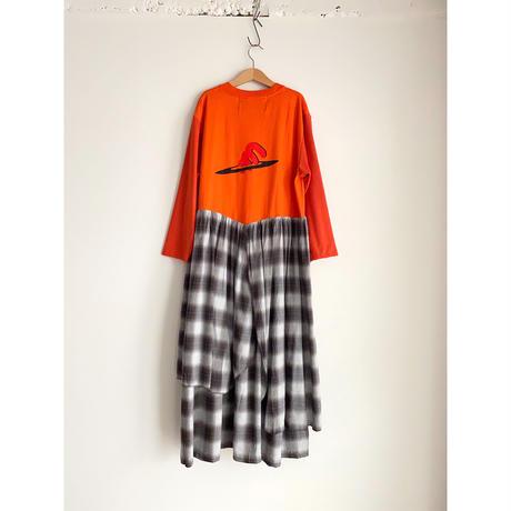 Remake T-shirt Long Dress(Brown/Check)