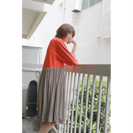 Remake T-shirt Long Dress(Brown/Border)
