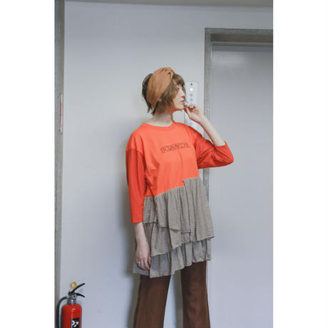 Remake T-shirt mini Dress(Brown/Border)