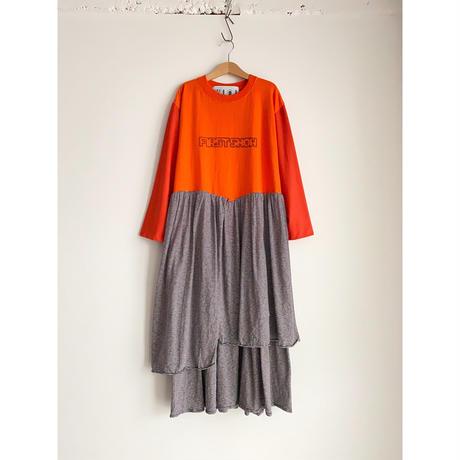 Remake T-shirt Long Dress(Black/Border)