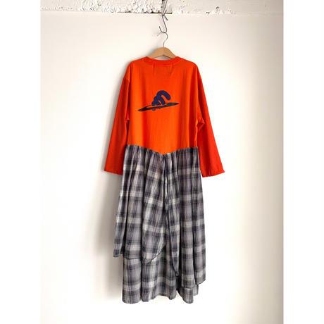 Remake T-shirt Long Dress(Black/Check)