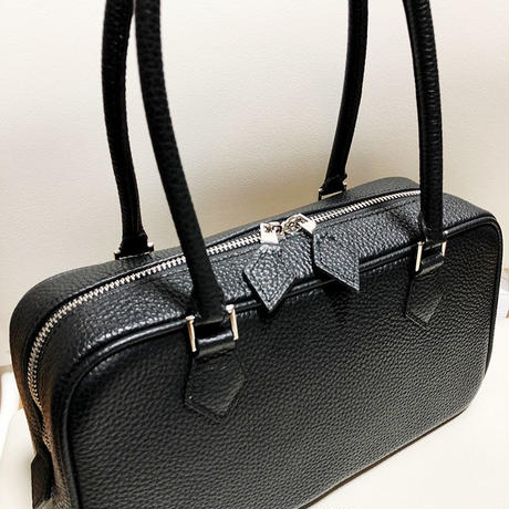 square leather bag black