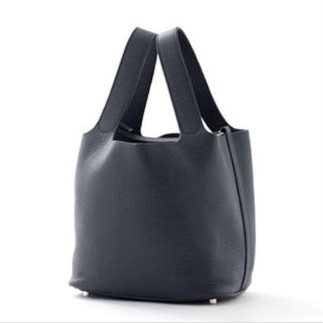 leather cube bag navy