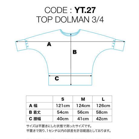 ドルマンスリーブ3/4 レーヨンスパンデックス薄手 ブラック[YT.27RL/L-BLACK]